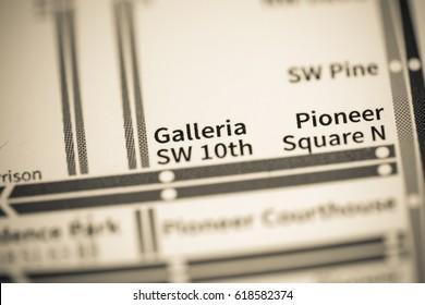 Galleria SW 10th Station. Portland Metro map.