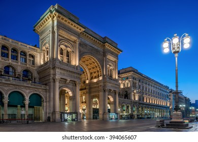 Galleria Vittorio Emanuele at night, luxury shopping mall in the center of Milan, Italy