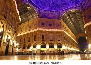 Galleria Vittorio Emanuele shopping Center in night. Milan, Italy