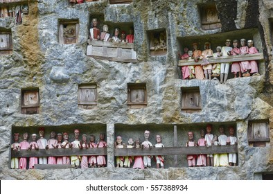 Galleries of tau-tau guard the graves. Lemo is cliffs old burial site in Tana Toraja, Sulawesi, Indonesia.