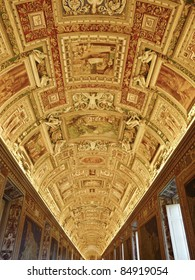 Gallery ceiling at the Vatican Museum in the Vatican City, Rome, Italy