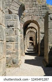 Gallery in front of Antique Pergamon Acropolis, North Castle Walls.