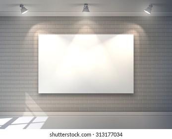 Gallery interior with blank billboard and spotlight poster  illustration