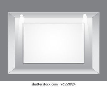 Gallery Interior with empty frame and light on wall, illustration