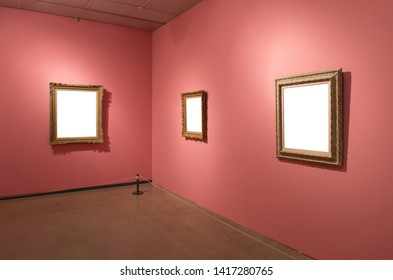 Gallery Interior with empty frames on wall.