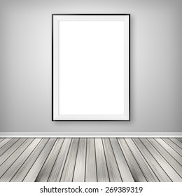 Gallery interior with one empty frame on wall.