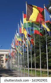Gallery of national flags at entrance to UN office in Geneva