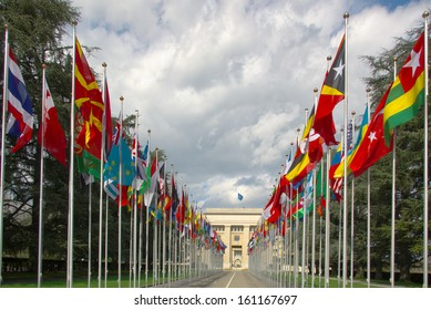 Gallery of national flags at UN entrance in Geneva, Switzerland