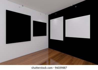 Gallery The picture on the black wall. Decorated with empty room.