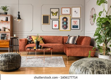 Gallery of trendy posters in elegant grey living room interior with brown corner sofa