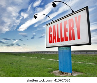 gallery wall of picture and image and art exhibition, road sign billboard