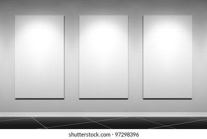gallery wall with three blank posters