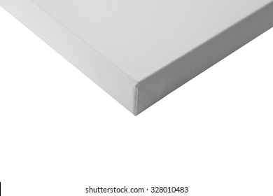 Gallery wrapped blank canvas on wooden frame detail - stretcher bar frames back side isolated on white