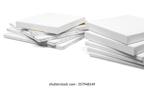 Gallery wrapped blank canvas on wooden frame - stretcher bar frames isolated on white with clipping path