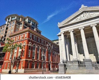 Gallier Hall and Louisiana Bar Associates on St Charles Ave near the Lafayette Square with beautiful blue sky