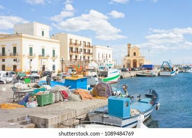 Gallipoli, Apulia, Italy - Fishing boats at the seaport of Gallipoli