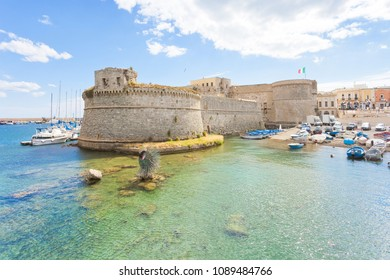 Gallipoli, Apulia, Italy - MAY 2017 - View from the seaport towards the middle aged fort of Gallipoli