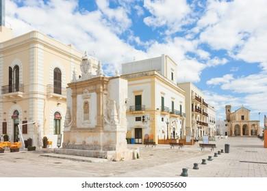 Gallipoli, Apulia, Italy - MAY 2017 - Buildings at the pedestrian zone near the harbor of Gallipoli