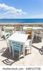 Gallipoli, Apulia, Italy - Out for lunch in the sun at the middle aged promenade