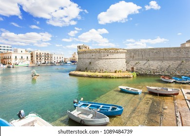 Gallipoli, Apulia, Italy - Traditional rowing boats at the seaport of Gallipoli