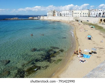 Gallipoli, Apulia region, Italy (Europe) - June 2, 2016: overview on the beach.