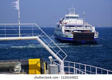 Gallipoli ferry crossing the Dardanelles near Canakkale, Turkey