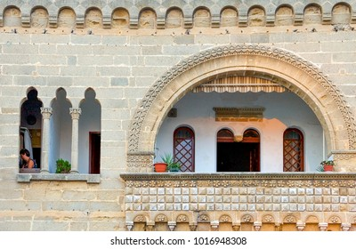 Gallipoli, Italy - August 27, 2006: View of  the ancient atchitecture of an house in the city center