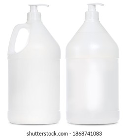 Gallon Bottle Jug Mock Ups. White Background. Packaging Product For Chemical Solution. Bleach and Cleaning Supplies Template.