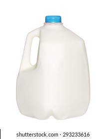 gallon Milk Bottle with blue Cap Isolated on White Background.