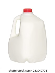 gallon Milk Bottle with Red Cap Isolated on White Background.