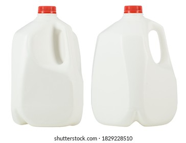 Gallon of Whole Milk with Red Plastic Cap Isolated on White Background. Two white plastic bottles per one gallon each. 1 gallon or 3.78 liter. High resolution photo.