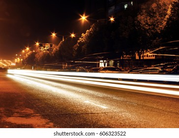 Gallop car lights, night view