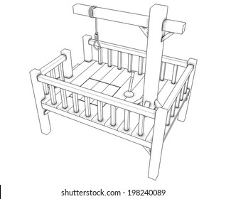 Gallows. isolated white background. 3d.