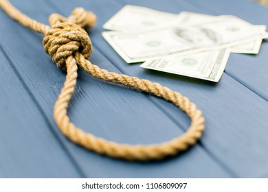 Gallows, rope loop. The concept of suicide because of money.