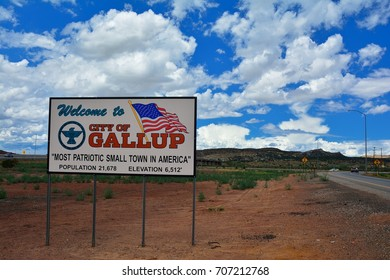 GALLUP, NEW MEXICO - JULY 22: Welcome sign to Gallup, most patriotic small town in America on July 22, 2017 in Gallup, New Mexico.