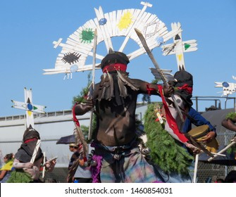 GALLUP, NM - AUGUST 13, 2016 - Apache warrior dances at the annual Gallup Inter-Tribal Indian Ceremonial parade.