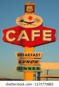 Gallup, NM, USA - June 4, 2014: A vintage sign for the Roadrunner Cafe on Route 66, which runs from Chicago to California. The diner and associated hotel may no longer exist.