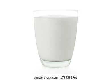 Galss of fresh milk isolated on white background with clipping path.