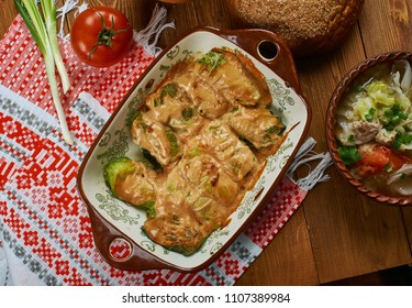 Galumpkis, Stuffed Cabbage Rolls, Polish cuisine , Traditional assorted Poland dishes, Top view.