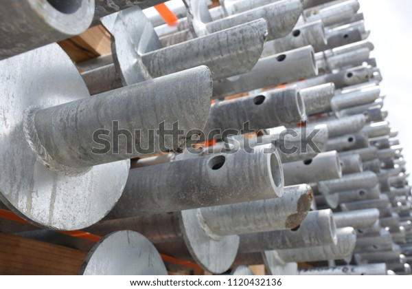 Galvanized Helical Piers Extensions Stock Photo (Edit Now