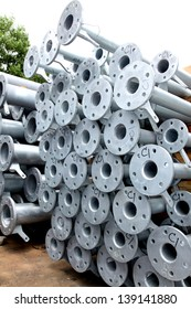 Galvanized Steel pipes bunch on the rack in warehouse