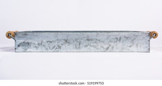 Galvanized Tin Box with Wooden Handles Isolated on White Front View