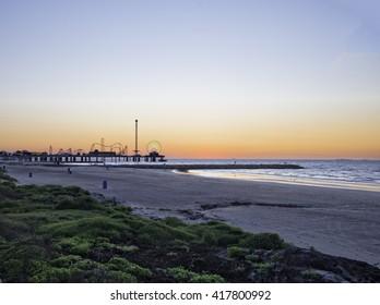 Galveston Bay Galveston Texas at sunrise