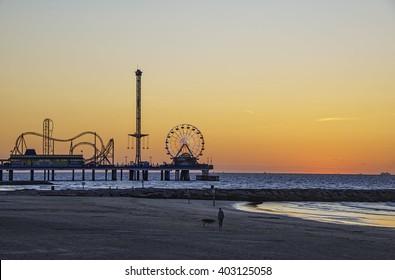 Galveston Beach Texas pier at sunrise