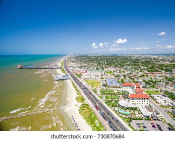 Galveston Island along the seawall from the air