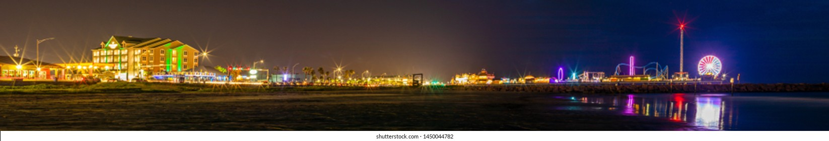 Galveston, Island city in the State of Texas, United States, view of the pier and gulf the coast at night.