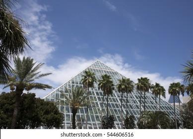 Galveston, Texas - August 16th 2014: Moody Gardens Rain forest Pyramid.