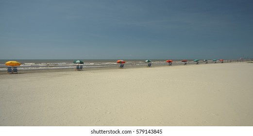 Galveston Texas Beach Umbrellas
