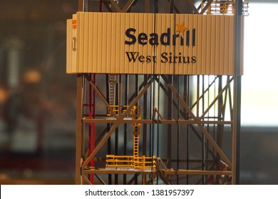 GALVESTON, TEXAS - OCTOBER 4th, 2018: Seadrill West Sirius Miniature in Galveston Star Oil Rig Museum, one of exhibition object for visitors, students, and everyone who wants to know about drilling.