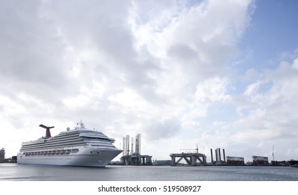 Galveston, Texas October 6th 2011: Carnival Triumph disembarks from Pier 21 waterfront in Galveston Texas